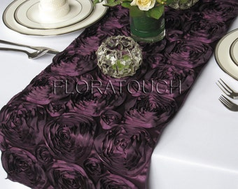 Plum Satin Ribbon Rosette Table Runner Dark Purple Wedding Table Runner