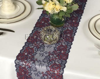 Dark Red Burgundy And Navy Blue Floral Lace Table Runner Wedding Table  Runner