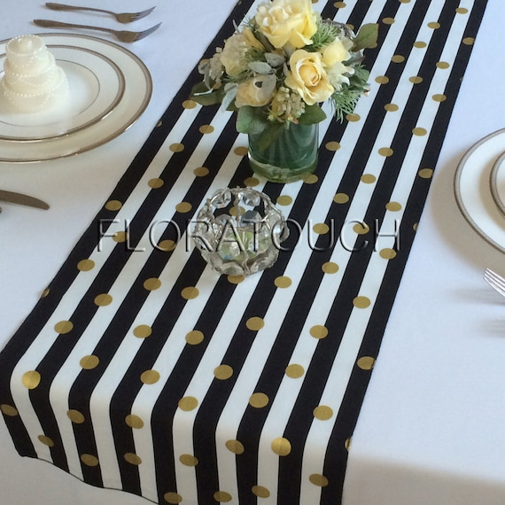 Bon White And Black Striped With Gold Dots Table Runner Wedding | Etsy