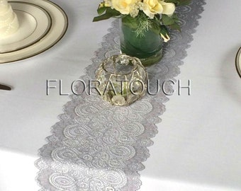 Gray Lace Table Runner with Scalloped Edge Wedding Table Runner