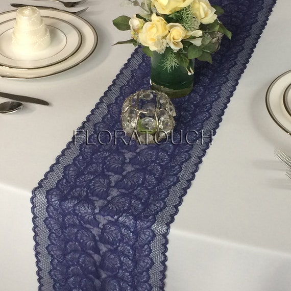 Shimmering Navy Blue Lace Table Runner Wedding Table Runner