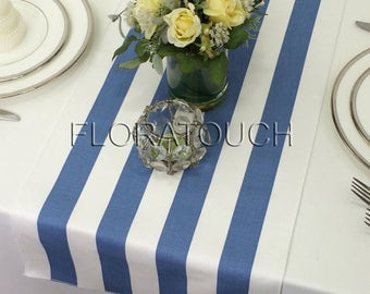 Blue Stripe Table Runner Blue and White Striped Wedding Table Runner with white stripes on the borders