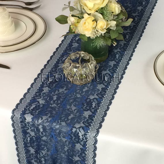 Navy Blue Lace Table Runner With Metallic Thread Wedding Table Runner Lbn07