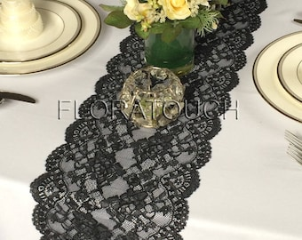 Black Lace Table Runner with Large Scalloped Edge Style LBlk01