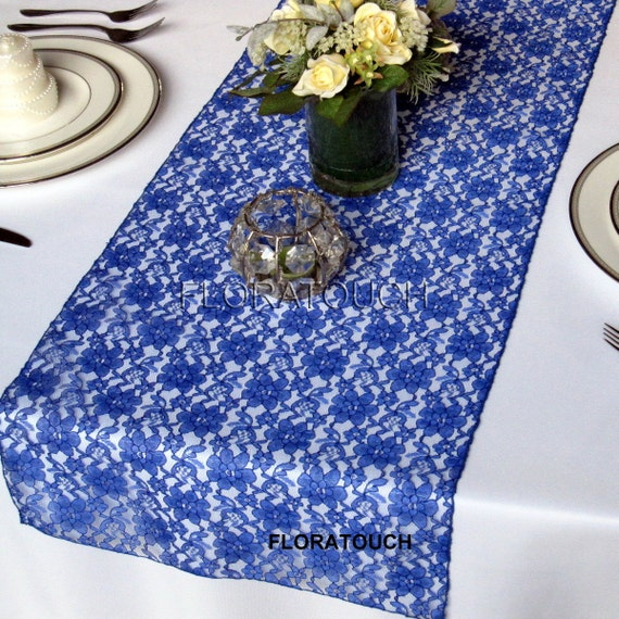 Attrayant Royal Blue Lace Wedding Table Runner