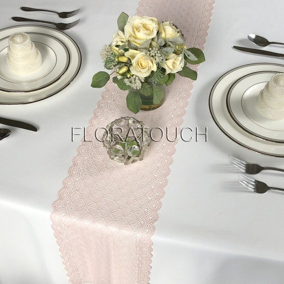 Light Dusty Rose Pink Lace Table Runner Wedding Table Runner 7 75 Wide Lpnk6