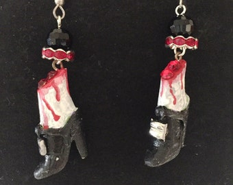 Halloween Earrings Severed Feet!  OOAK Handmade Jewelry Art by Lori Gutierrez!!