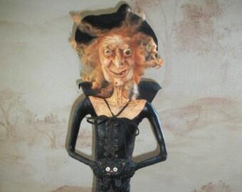 Wicked, Sweet Old Witch - OOAK Sculpture by Lori Gutierrez