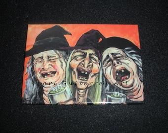 "Magnet by Lori Gutierrez OOAK Art - ""Happy Witches""!!"