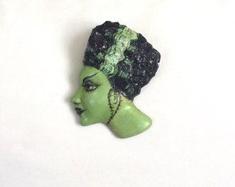 Bride of Frankenstein Pin!  Fun Halloween Jewelry OOAK by Lori Gutierrez!