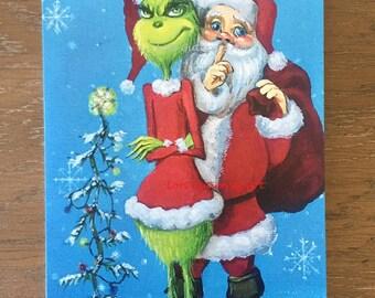"Holiday Greeting Card ""Santa And The Grinch!"" by Lori Gutierrez"