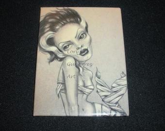 Magnet by Lori Gutierrez OOAK Art - Bride of Frankenstein Mermaid!!
