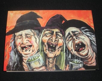Greeting Card Happy Witches Original OOAK by Lori Gutierrez