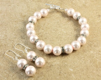 Blush Light Pink Pearl Wedding Bracelet Earrings Silver Rhinestone Bridesmaid Gift Jewelry
