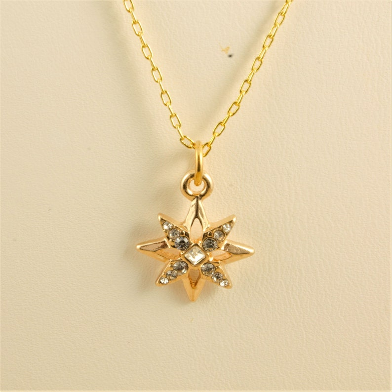 Two Chain Necklace Gold Rhinestone Star Pendant Gold Tube Gold Cable Chain