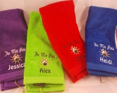 Embroidered Personalized HEMMED Bowling Towel with Grommet- Bowling Pins and Ball