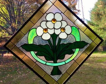 Craftsman stained glass window panel arts and crafts  bunglow panel Stylized nosegay floral craftsman style hanging transom decoration decor