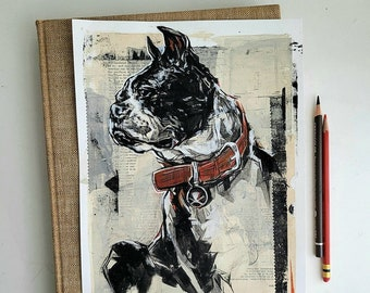 Custom pet portrait commission in mixed media collage, original art in 2 sizes, perfect gift for pet parents, digital copy included