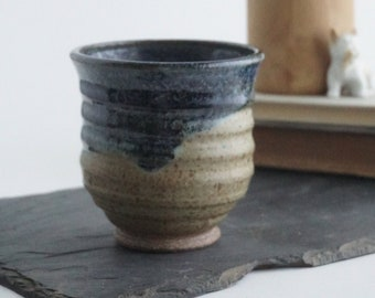 Vintage dripware speckled ceramic vase, blue and brown glaze, spiral pattern, office gift, succulent planter, farmhouse decor, rustic decor