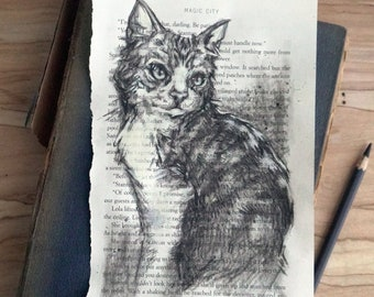 Original charcoal cat portrait, charcoal drawing, Tabby Cat hand drawn original art 6x9, perfect gift for pet lover or book lover
