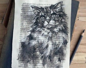Original charcoal cat portrait, charcoal drawing, Maine Coon Cat hand drawn original art 6x9, perfect gift for pet lover or book lover