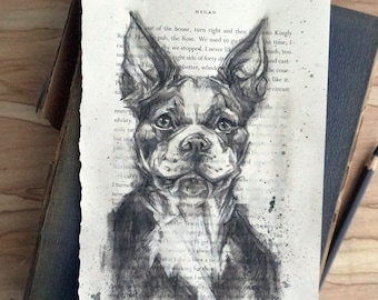 Original charcoal dog portrait, charcoal drawing, Boston Terrier, hand drawn original art 6x9, gift for dog lover or book lover
