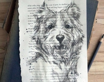 Original charcoal dog portrait, charcoal drawing, West Highland White Terrier, hand drawn original art 6x9, gift for dog lover or book lover