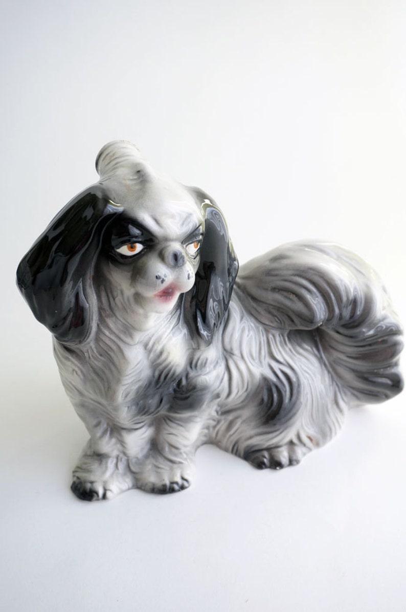Vintage Decanter Ceramic Dog Japanese Chin Pekingese Shih Etsy