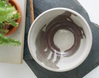 Vintage ceramic bowl, handmade pottery, large speckled vessel, ceramic planter, farmhouse kitchen, rustic decor, hygge decor, gifts under 20