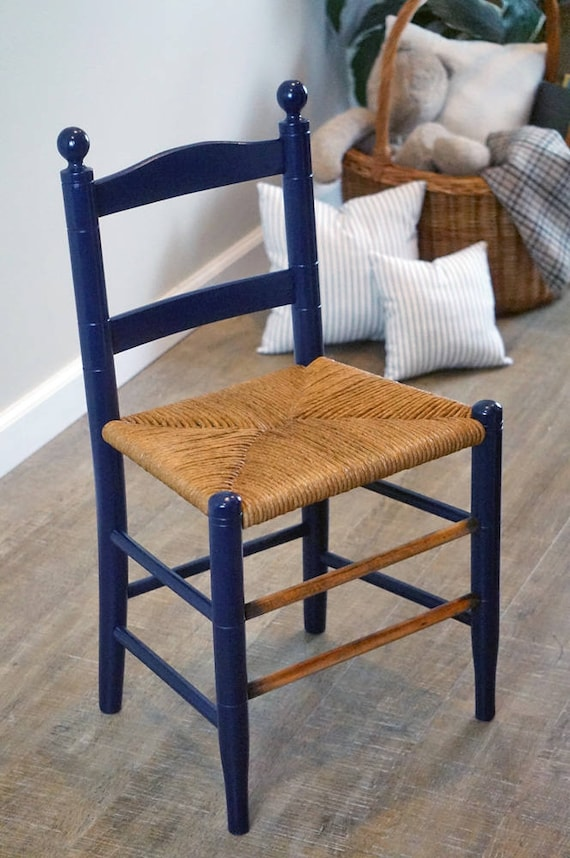 image 0 - Antique Child's Wooden Ladder Back Chair With Hand Woven Etsy