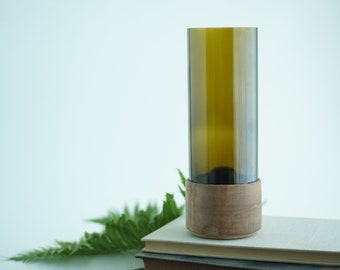 Rustic modern glass vase hand turned sycamore wood pedestal base, succulent planter, recycled glass, custom boho farmhouse decor