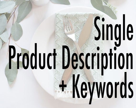 Single Product Description + Keywords Content Writing for Etsy Listings