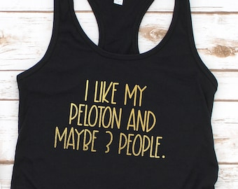 I like My Peloton and Maybe 3 People Ladies Racerback in Gold Foil