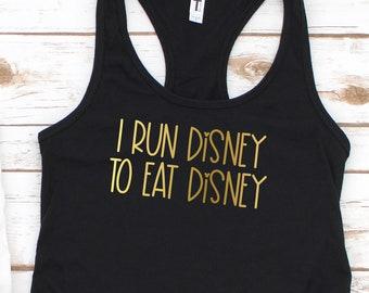 Run Disney to Eat Disney Ladies Racerback in Gold Foil