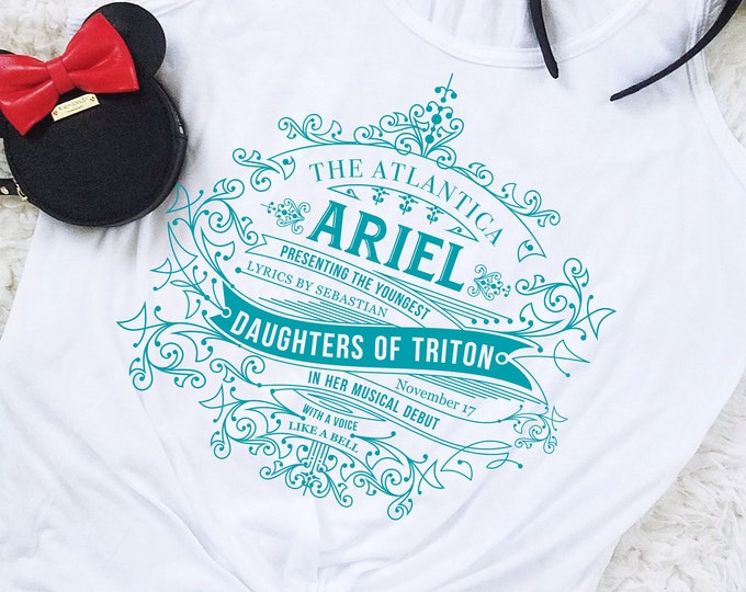 Daughters of Triton -  Little Mermaid Inspired Aqua Flowy Tank Top