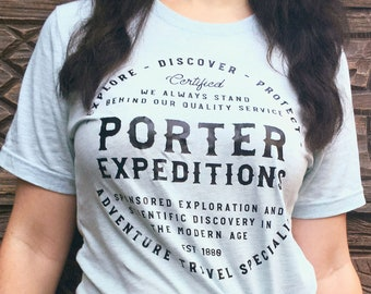 Porter Expeditions - Jane Porter and Tarzan Inspired Adventure Unisex Crew Neck Shirt