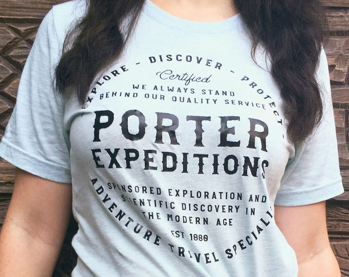 Porter Expeditions - Jane Porter and Tarzan Inspired Adventure Ice Blue Unisex Crew Neck Shirt