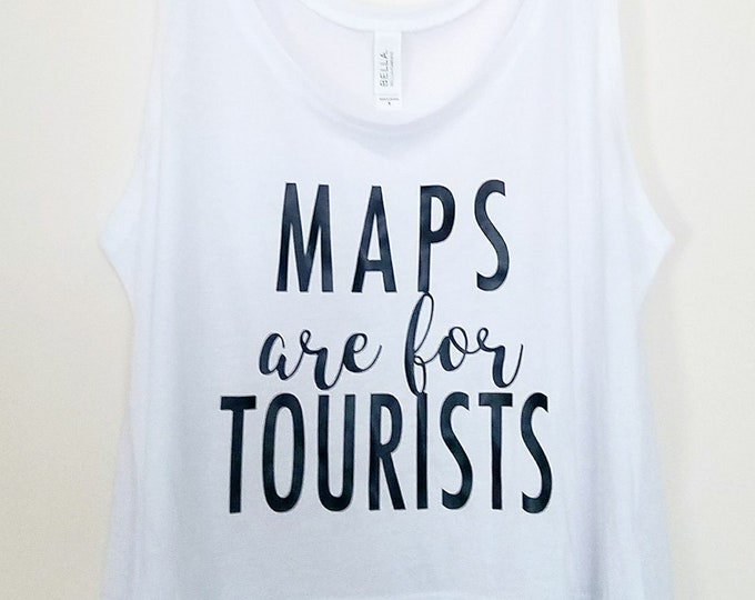 Maps are for Tourists White Disney and Theme Park Inspired Cropped Tank Top