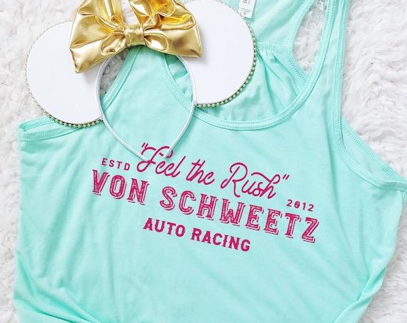 Feel the Rush -  Von Schweetz Inspired Car Racing Shirt - Mint Ladies Flowy Racerback Tank Top - FREE SHIPPING