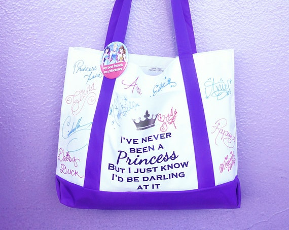 Read to Ship - Purple I've Never Been a Princess - Kate Spade and Disney Inspired Autograph Tote - FREE SHIPPING