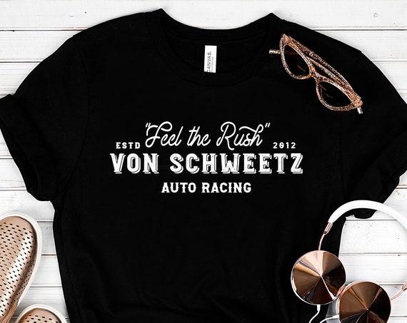 Feel the Rush - Von Schweetz Car Racing - Black Unisex Crew Neck - FREE SHIPPING