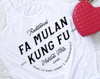 Fa Mulan Kung Fu - Disney Princess Inspired Martial Arts - Black Writing Flowy Tank Top