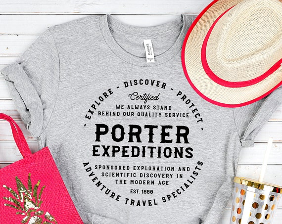 Porter Expeditions - Jane Porter and Tarzan Inspired Adventure Heather Gray Unisex Crew Neck Shirt - FREE SHIPPING