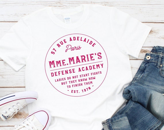 Mmm. Marie's Defense Academy - White Unisex Crew Neck - FREE SHIPPING