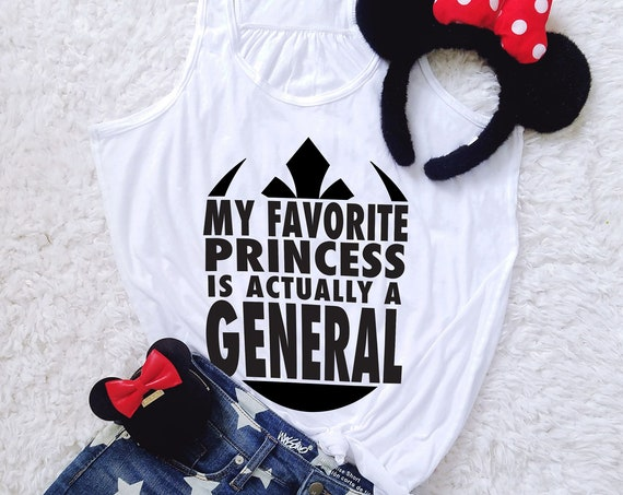 My Favorite Princess is a General - Resistance Inspired - Ladies Flowy Racerback Tank Top - FREE SHIPPING