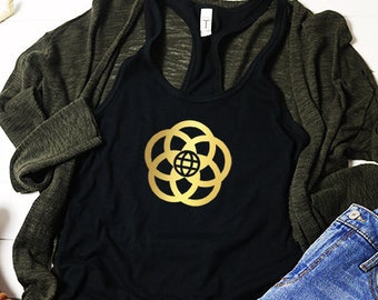 Epcot Inspired Ladies Racerback in Gold Foil