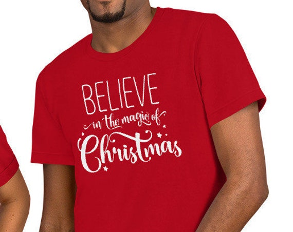 Red Believe in the Magic of Christmas Unisex Crew Neck Shirt
