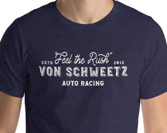 Feel the Rush - Von Schweetz Car Racing - Heather Navy Unisex Crew Neck