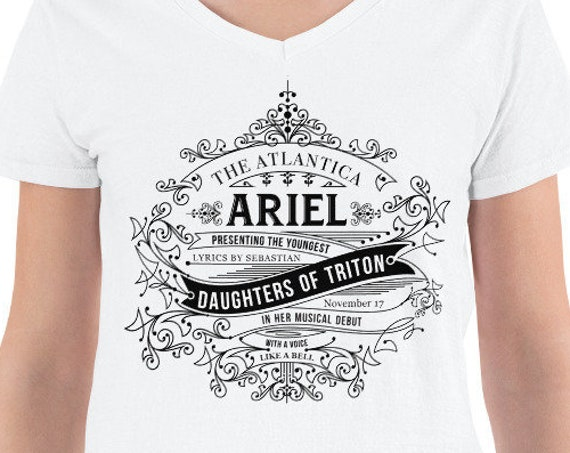 Daughters of Triton -  Little Mermaid Black Inspired Ladies V-Neck - FREE SHIPPING