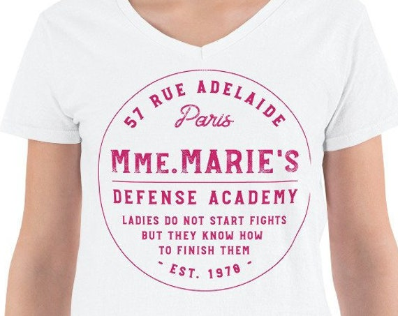 Mmm. Marie's Defense Academy - White Ladies V-Neck Shirt - FREE SHIPPING